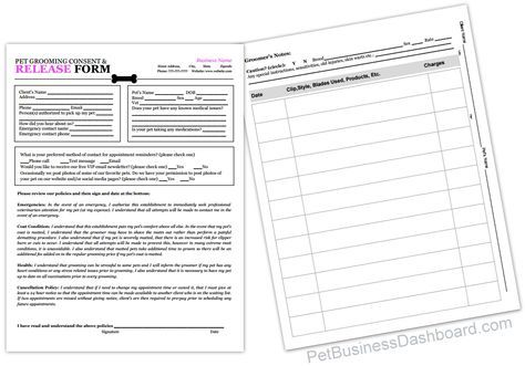 Grooming Release Form - Client Record Sheet. http://www.petbusinessdashboard.com/store/p28/Grooming_Release_Form.html
