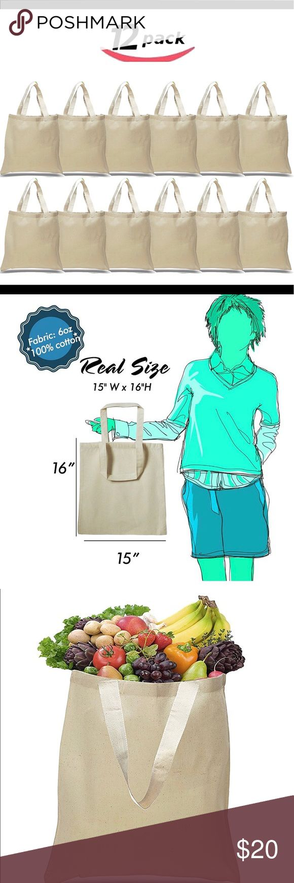 """(12 Pack) - Reusable Cotton Tote Bags 12 PACK of Budget Friendly 100% Cotton Wholesale Tote Bags Size of these bags is 15""""x16"""" with 21"""" Handles. These bags are 100% Cotton Canvas made of thick 6 ounce fabric. These wholesale handbags are not only can be used as grocery bags, but also can be used as handbags for girls, beach bag and gym bag for women, tote bag for teens for kids to decorate, birthday goodie bags, wedding party favor bags or Christmas gifts & much more. Convenient for everyday…"""