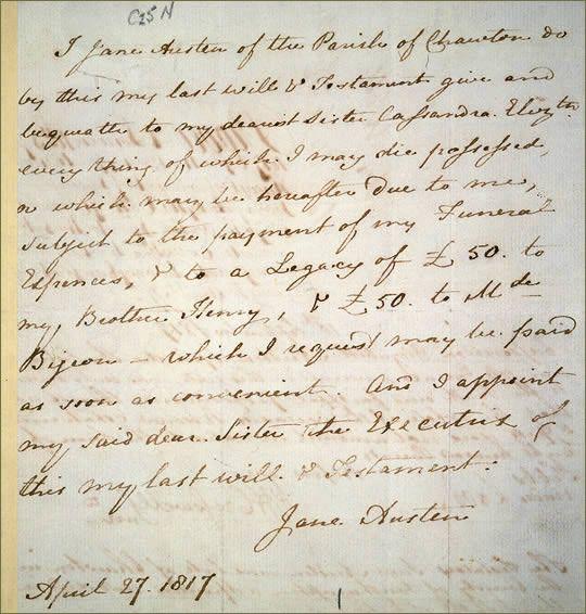 Jane Austen's will