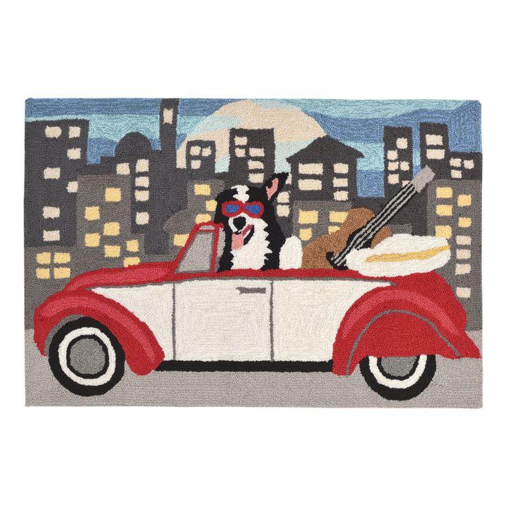 Liora Manne Frontporch 1592/47 City Dog Night Indoor / Outdoor Door Mat - FTP12159247