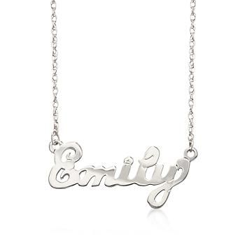 "Ross-Simons - Child's Sterling Silver Script Name Necklace. 15"" - #788413"