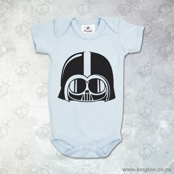 Darth Vader - Blue babygrow with #DarthVader inspired design for boys. #KingtonKustomKulture