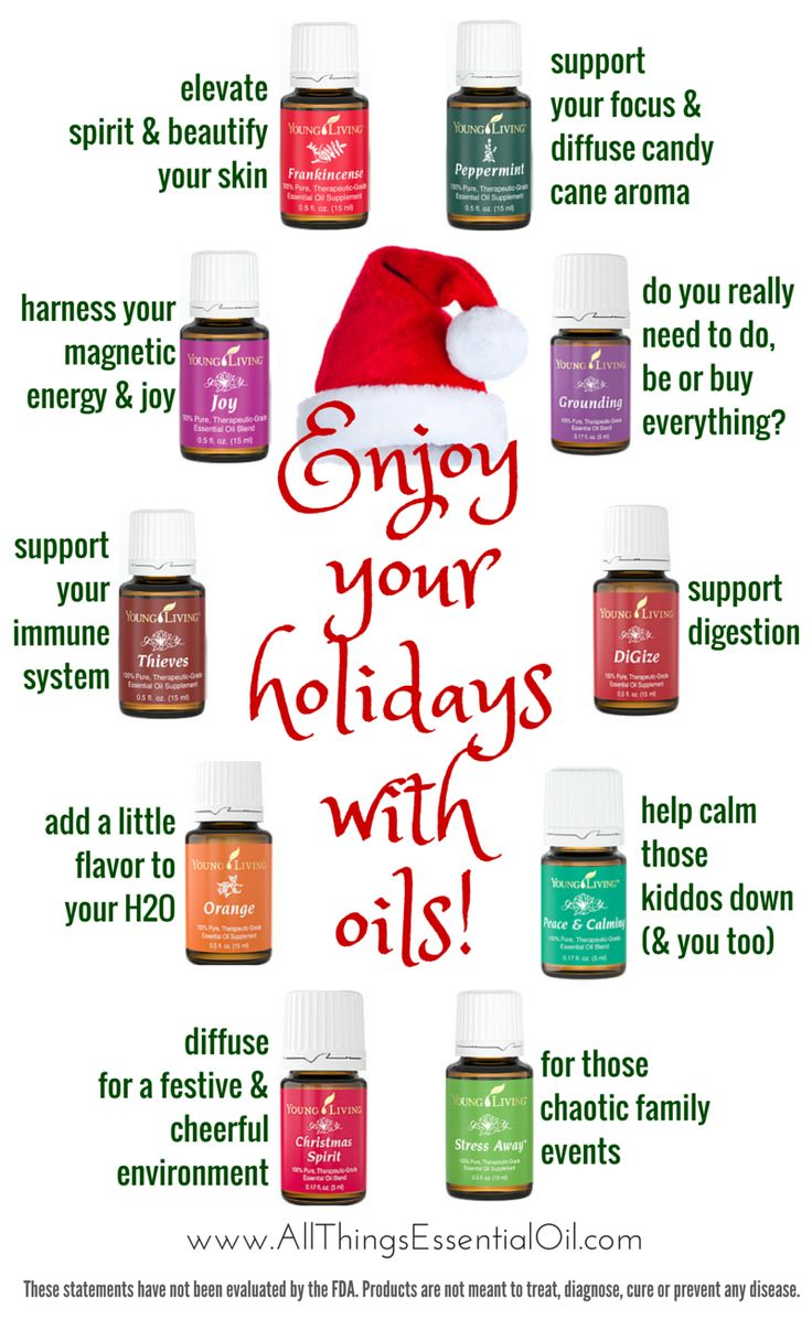 Survive and enjoy the holidays with these 10 must-have Young Living essential oils! Pick up your holiday oils today at www.AllThingsEssentialOil.com #holidays #youngliving #holidaystress