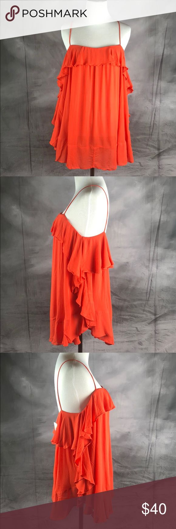 "{Free People}Semi-sheer Gauze Cascades Ruffle Cami *Brand New with Tags  *Excellent Condition  *Size Medium  *color red orange  * Length: 29"" (approx) * Pullover *Square neck *Sleeveless *Semi-sheer gauze fabric *Ruffle overlay *Flounce hem Free People Tops"