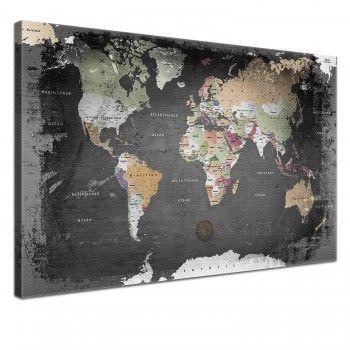 Leinwand Bild Weltkarte Graphit 100 x 70 cm, einteilig, 74,90€, mehrere Größen