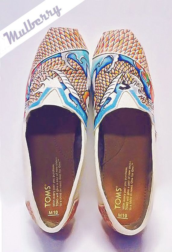 lotus tides hand decorated toms with a Japanese by MulberryUnlmtd, $125.00