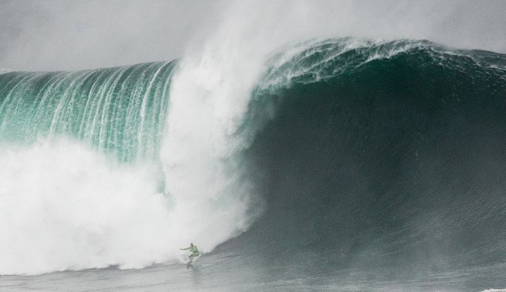 Garrett McNamara (Haleiwa, Hawaii) reaches the bottom of a massive wave at Nazaré, Portugal on November 1, 2015. The image is an entry in the TAG Heuer XXL Biggest Wave cateogry of the 2016 WSL Big Wave Awards. An El Nino weather condition is expected to cause larger waves through the coming winter season. Photo: WSL/Bruno Aleixo