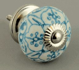 White and Blue Ceramic Knob w/ Nickel Rosette - 1-1/2""