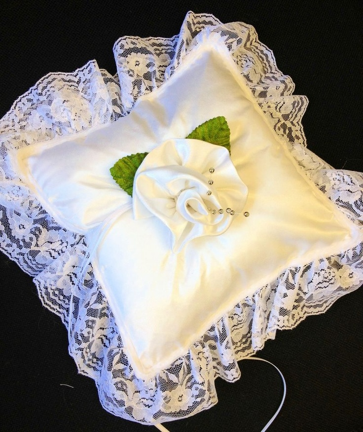 satin and lace ivory ring pillow, with centred silk rose  Please visit my site http://satinfinish.weebly.com/ring-pillows.html to purchase