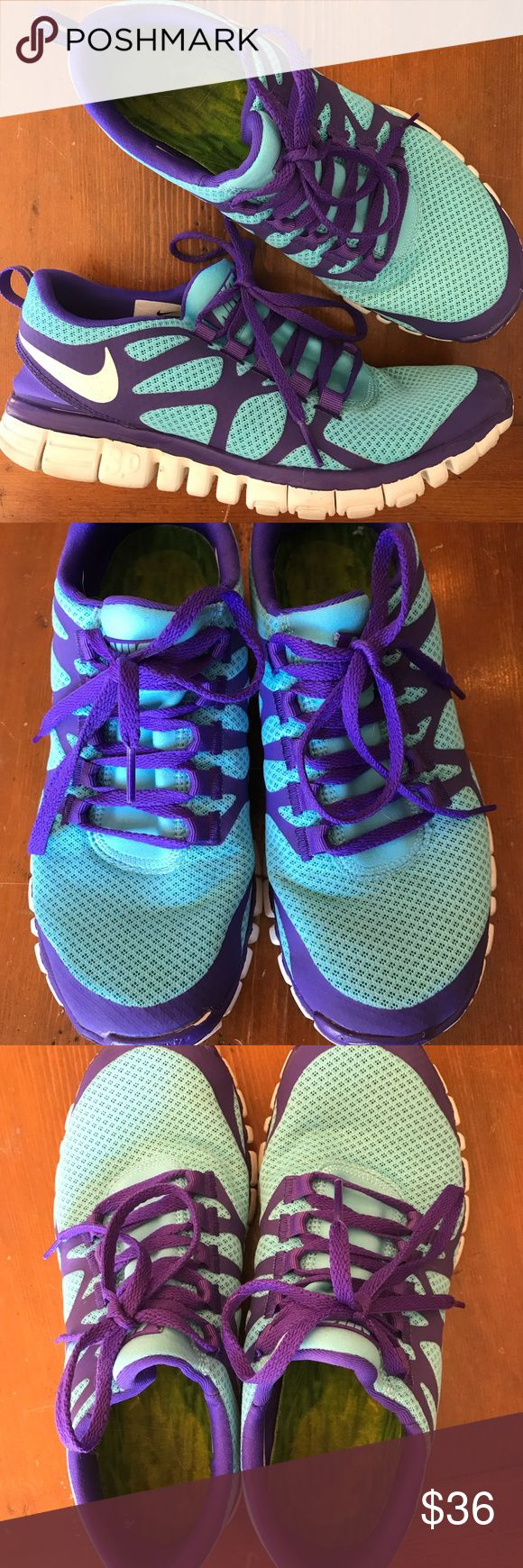 Nike Free 3.0 Women's Nike Free 3.0 shoes. Purple and teal. Good condition, worn only a handful of times. Lots of life left. Size 9. Nike Shoes Athletic Shoes