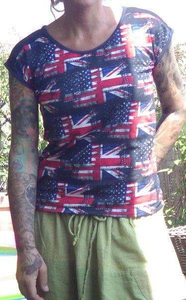 """Shirt mit vorgesetzten Rückenteil """"Amerika Flagge"""" von Die Revoluzzer auf DaWanda.com"""