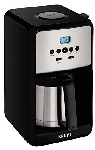 KRUPS ET351 SAVOY Programmable Thermal Stainless Steel Filter Coffee Maker Machine with Bold and 1-4 Cup Function, 12-Cup, Black >>> Check out the image by visiting the link.