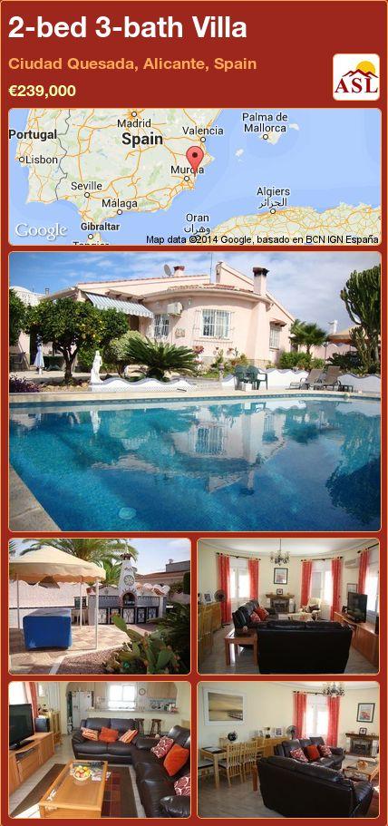 2-bed 3-bath Villa in Ciudad Quesada, Alicante, Spain ►€239,000 #PropertyForSaleInSpain