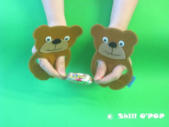 Good for pincer Grasp and fingers isolation. Felt Bear finger puppet toy PDF pattern by ShillOPOP on Etsy, $2.00