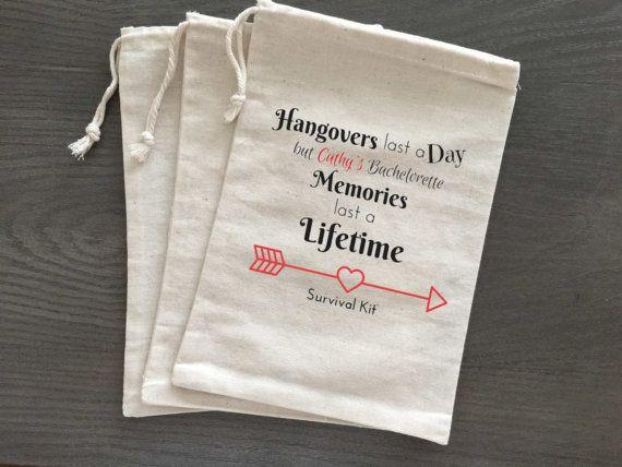 10 Bachelorette Hangover Kit Survival Kit Favor Bags by AlfandNoop