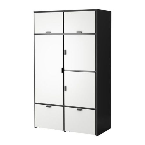 ODDA Wardrobe IKEA The bottom drawers have castors and therefore easy to move about. Adjustable hinges ensure that the doors hang straight. Locker like! #Ikea #$599