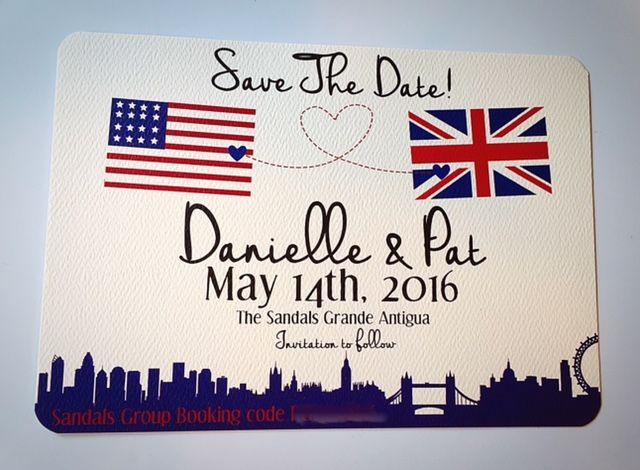 British American flag skyline save the dates Union Jack