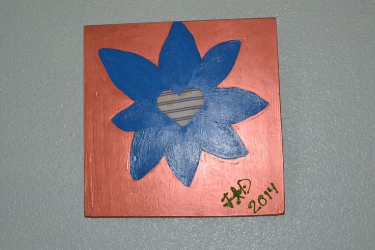 Acrylic on Wood Blue over Copper starflower 12x12 by StellaElvi, $87.00