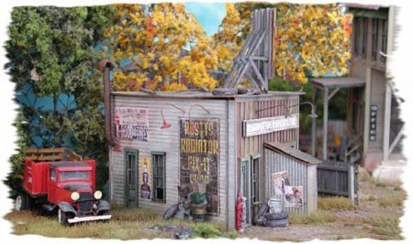 Bar Mills Rusty's Radiator Repair Laser-Cut Wood Structure Kit #0832 HO Scale #BarMillsScaleModelWorks
