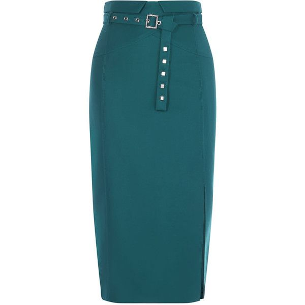 BELTED STUD PENCIL SKIRT ($250) ❤ liked on Polyvore featuring skirts, belted pencil skirts, teal skirt, blue pencil skirt, high waist skirt and fold-over maxi skirt