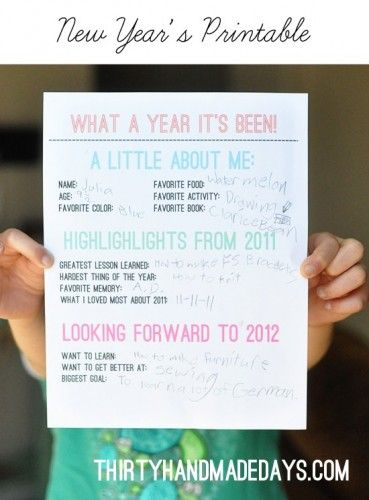 Kids New Year's Resolution Printable