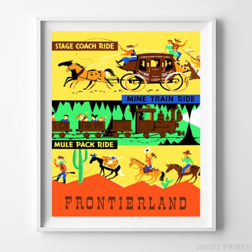 Disneyland Attractions Stage Coach Ride Home Decor Wall Art Poster - Prices from $9.95 - Click Photo for Details   -#disneyland#disney#poster#nursery#wallart#tomorrowland   #adventureland #fantasyland #frontierland #StageCoachRide