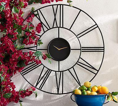 Fireplace Clock Option Roman Numeral Outdoor Clock #potterybarn