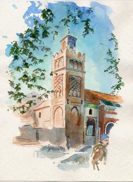 Tlemcen - Mosquée Sidi Bel Hassen - Peinture, 40x50 cm ©2008 par Catherine Rossi -