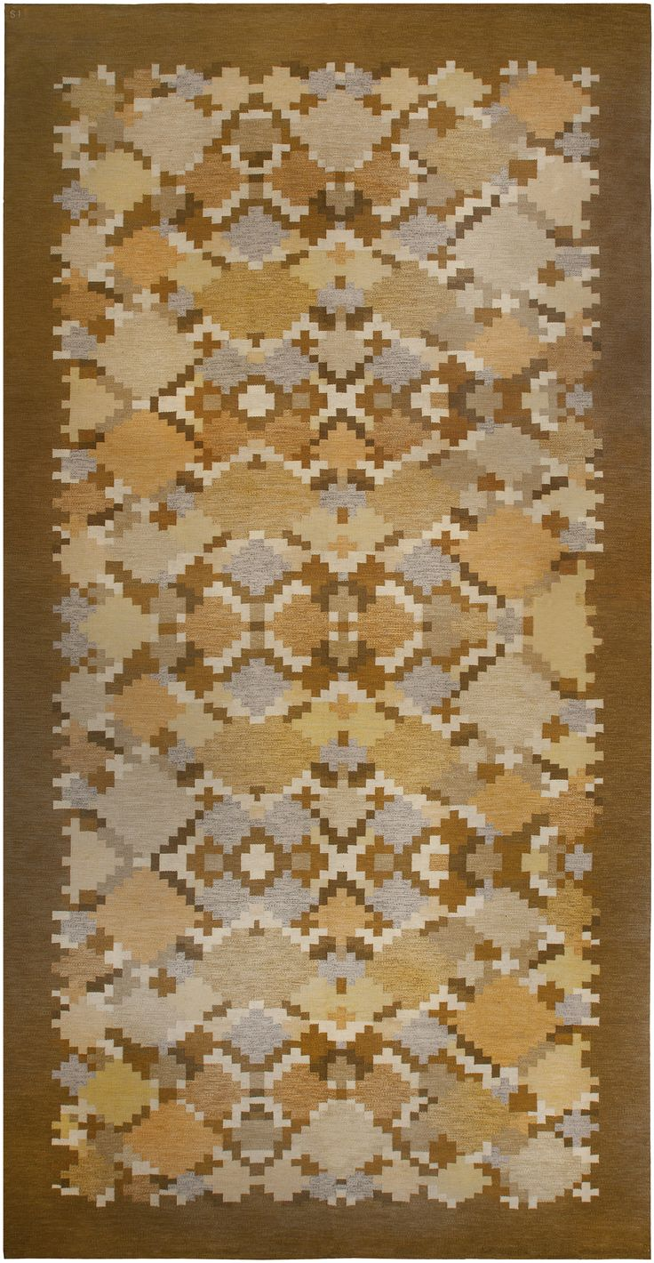 Vintage Swedish flat-weave rug designed by Ingegerd Silow. Available through Doris Leslie Blau.