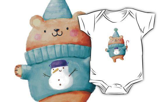 Wunderschoöne weihnachtliche Designs auf Babystramplern und T-Shirts gibt es bei Redbubble im Shop