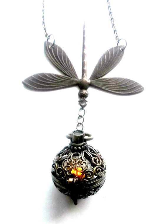 Dragonfly in Amber Light Up Necklace by AuntMatildasJewelry