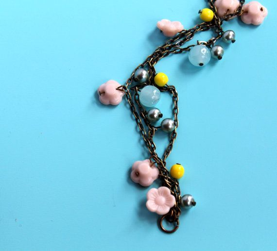 Sweet Pea Blue Sky Charm Bracelet Vintage by comeandplaybetsymay