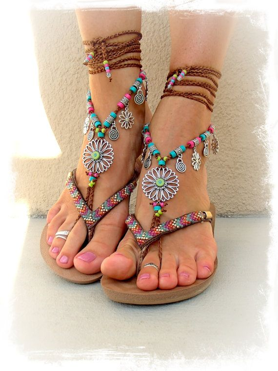 SUNFLOWER BAREFOOT Sandals Hippie FESTIVAL wrap sandal Toe Thongs bare feet Statement foot accessory toe anklet crochet foot jewelry GPyoga on Etsy, Sold