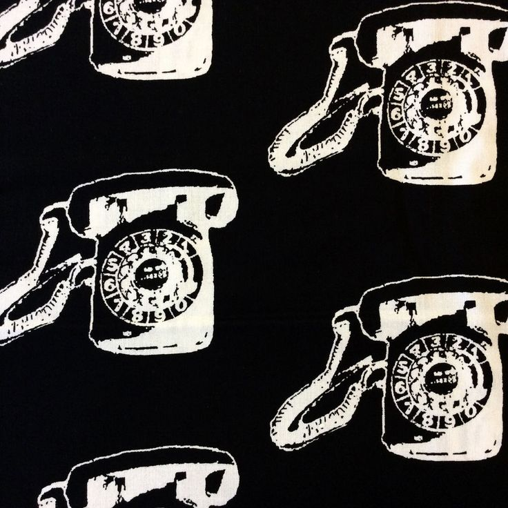 MD324 Telephone Retro Vintage Tech Phone 50's Black & White Cotton Quilt Fabric