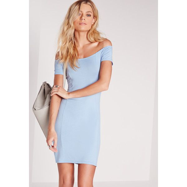Missguided Jersey Bardot Bodycon Dress Blue featuring polyvore, women's fashion, clothing, dresses, powder blue, blue bodycon dress, jersey dress, body conscious dress, missguided dress and body con dress