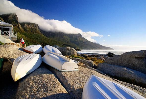 Upturned boats in Bakoven, near Cape Town