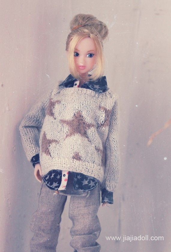 sweater in color pale teal and white stars for Unoa <3