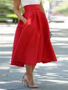 Shop Jupe Mi-Longue Patineuse Taille Haute Avec Poche Rouge