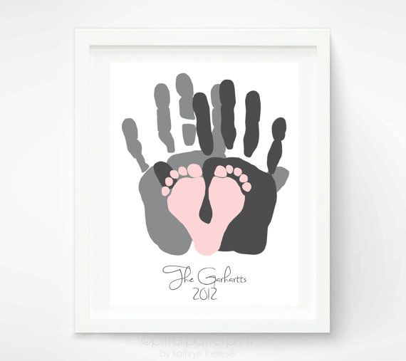 Gift for New Dad - First Fathers Day Gift - Baby Footprint and Hand Print Art Print - Personalized Family Portrait - Baby Footprint Art via Etsy