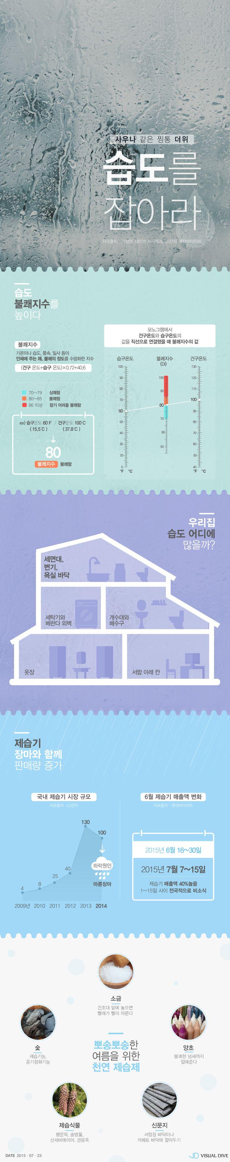 장마철 골칫거리 '습기' 효과적 해결 방법은? [인포그래픽] #humidity / #Infographic ⓒ 비주얼다이브 무단 복사·전재·재배포 금지
