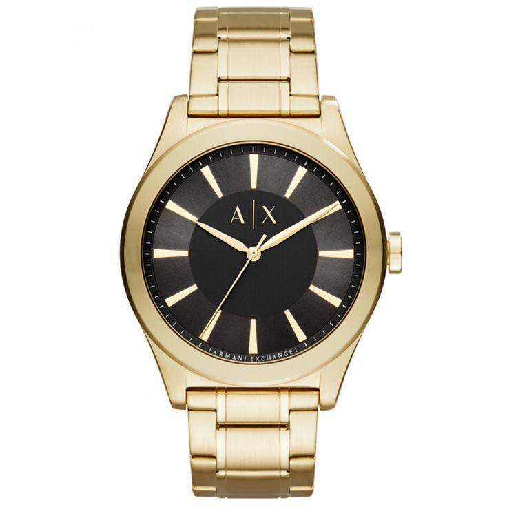 Reloj Armani Exchange de caja bisel y extensible tipo brazalete en acero color dorado; carátula negra con diseño de cuadricula manecillas e indicadores a contraste y nombre de la marca grabado.