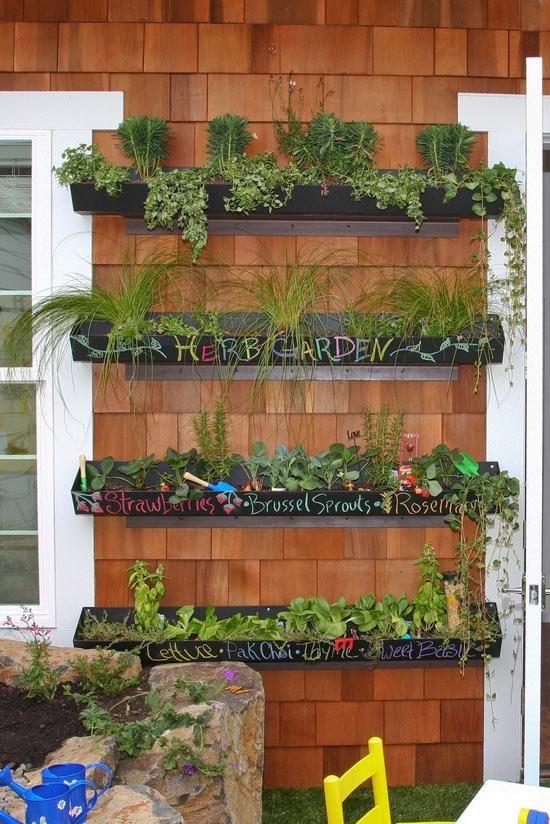 Gutter Herb Garden // Image Via: Desire To Inspire