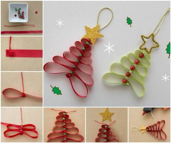 Este proyecto de arte es una forma sencilla de conseguir la sensación de Navidad en nuestra casa u oficina. Vamos a aprender cómo hacer ornamento de árboles de Navidad con cintas y abalorios.