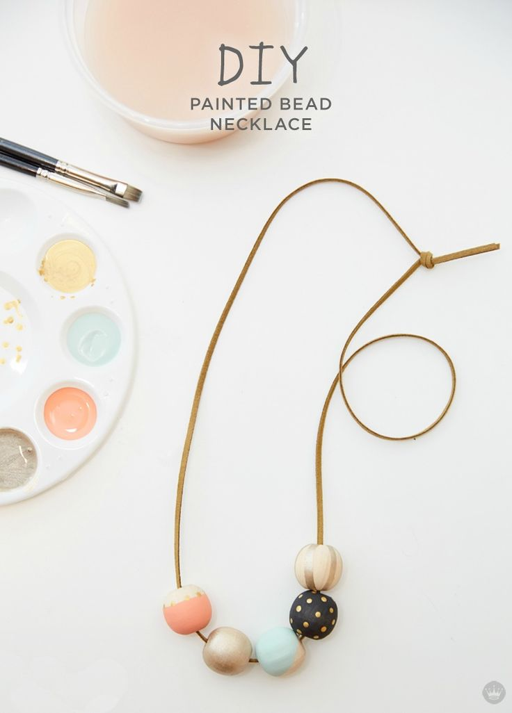Create a one-of-a-kind craft that you can wear with this stylish DIY Painted Bead Necklace idea from Think.Make.Share, a blog from the Creative Studios at Hallmark. Making chic homemade jewelry is a fun art project to do for girls' night in or with your kids as a Saturday afternoon activity.