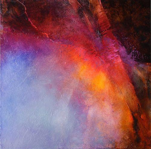 """Annette Schmucker, """"Abstrakte Komposition in gelb, blau und rot"""" Mit einem Klick auf """"Als Kunstkarte versenden"""" versenden Sie kostenlos dieses Werk Ihren Freunden und Bekannten."""