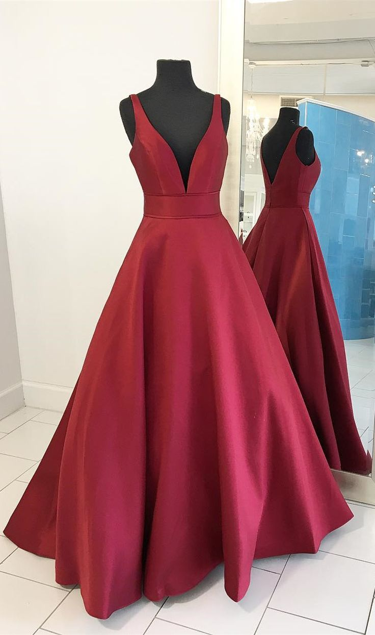 2017 red long prom dress, this rd color satin prom dress is simple but elegant and formal