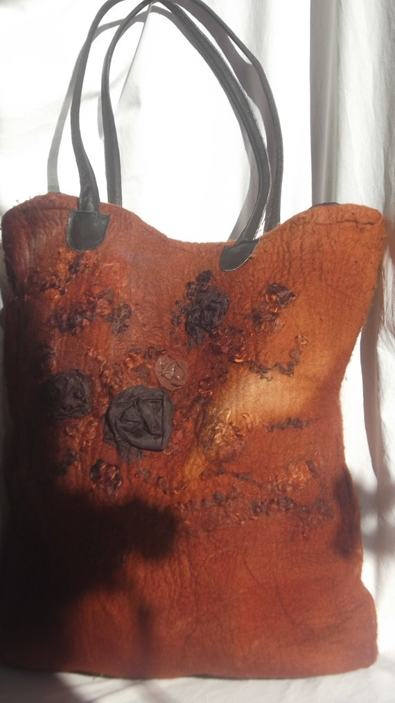 Large Brown Nuno Felted Tote Bag Bycolortherapy On Etsy
