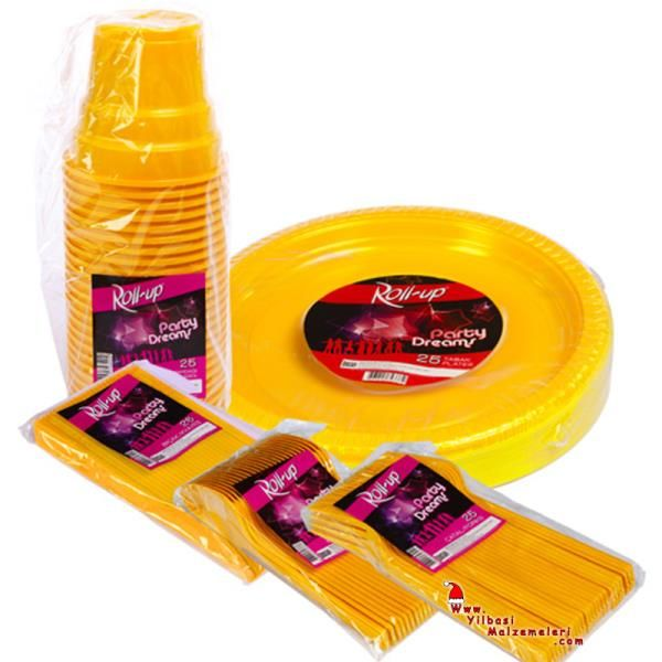 125 Parça 25 Kişilik Plastik Parti Sofra Seti Sarı Renk