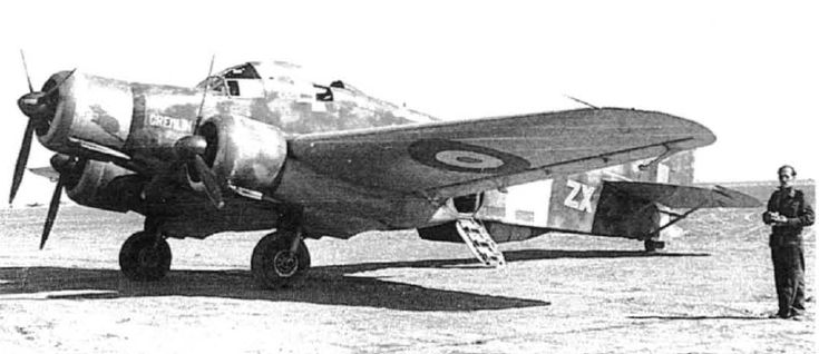 Savoia-Marchetti SM 79, taken over by No.145 Squadron at Castel Benito, Tripoli, in February 1943. The Squadron code letters 'ZX' appear on the fuselage and name 'Gremlin HQ' appears on the nose.