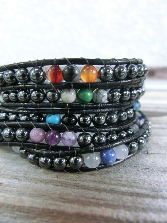 Men's Single Wrap PowerStone Bracelet with Hematite base by OffOnAWhim on Etsy, $18.00